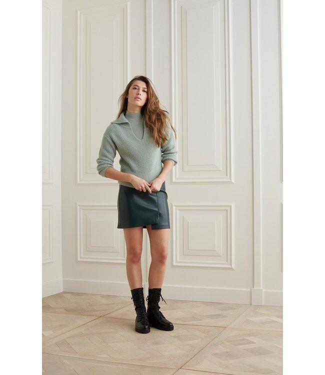 Yaya Wide collar sweater Greyish Green Milieu 1000481-123