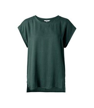 Yaya Fabric mix top Dark Forest Green 1901116-123
