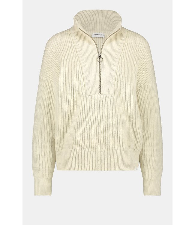 PENN&INK N.Y Cool neck with zipper off white W21B123