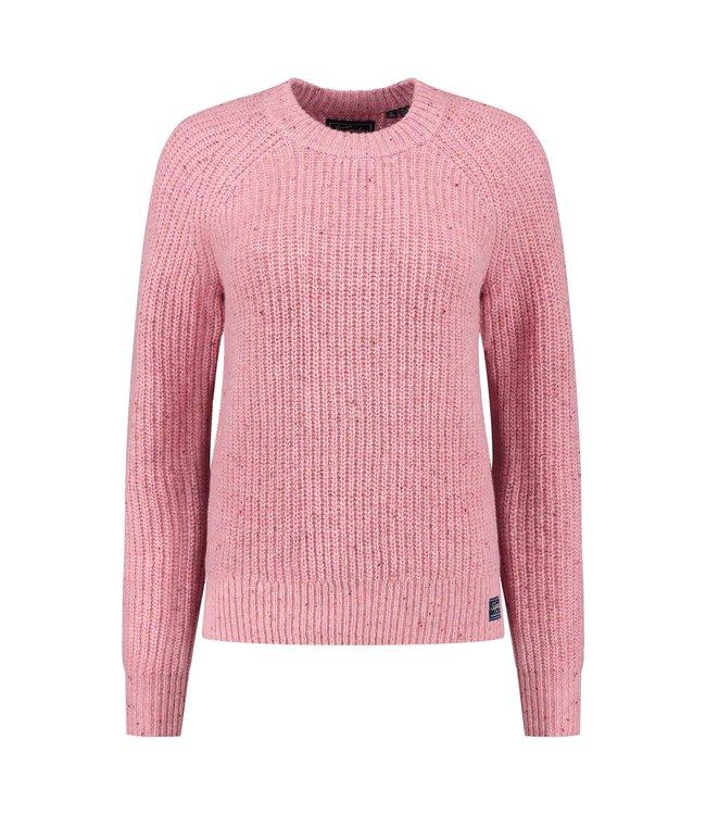 Superdry Tweed rib crew roze W6110342A