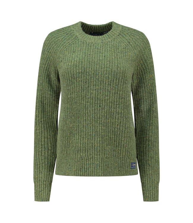 Superdry Tweed rib crew groen W6110342A