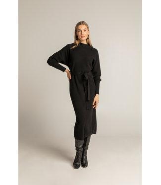 Expresso Honey stitch knitted dress zwart EX21-32004