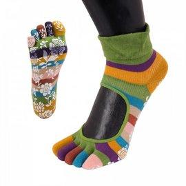 ToeToe ToeToe yoga sokken antislip  -  groene strepen