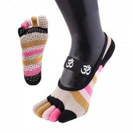 ToeToe ToeToe yoga sokken antislip  - kort, roze strepen