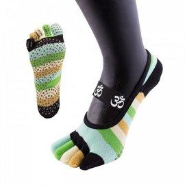 ToeToe ToeToe yoga sokken antislip  - kort, groene strepen