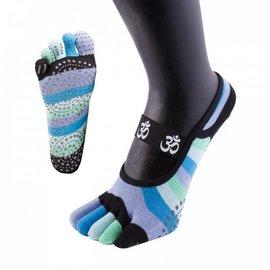 ToeToe ToeToe yoga sokken antislip  - kort, blauwe strepen