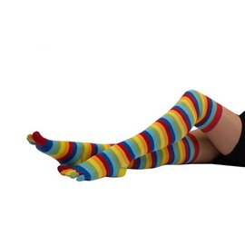 ToeToe ToeToe overknee sokken Striped Rainbow
