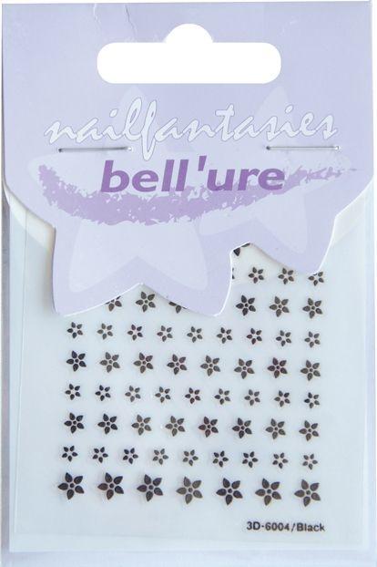 Bell'ure Nail Art Sticker Black Flowers Small
