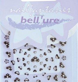 Bell'ure Nail Art Sticker Hearts Black & Silver