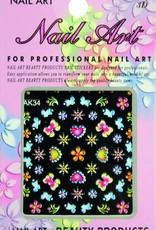 Bell'ure Nail Art Sticker Flowers AK34