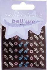 Bell'ure Nail Art Sticker Blue Metallic Flowers