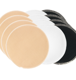 BreastPads Wasbare Zoogcompressen - Combi Effen Wit / Honey / Zwart
