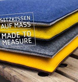 Filz Sitzkissen auf Maß, Bankkissen gepolstert, 3mm Filz 100% Schurwolle, Schaumstoff-Füllung 20 mm