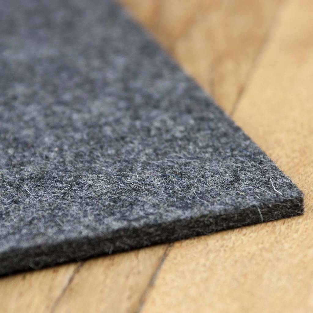 Filz Tischsets quadratisch dunkel grau meliert