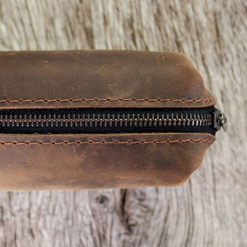 "leather pencil case in brown ""chocolate"" SAMMELWERK"