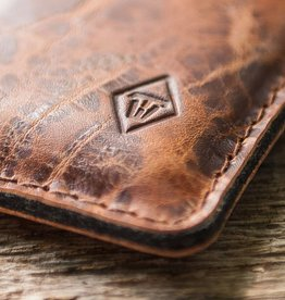 """Katastophenschutz wild brown"" iPhone leather case, sleeve with felt lining"