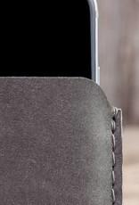 iPhone 12 11 Pro Max mini SE XR 8 Ledertasche grau mit Filz Futter und Einstecktasche BASALT
