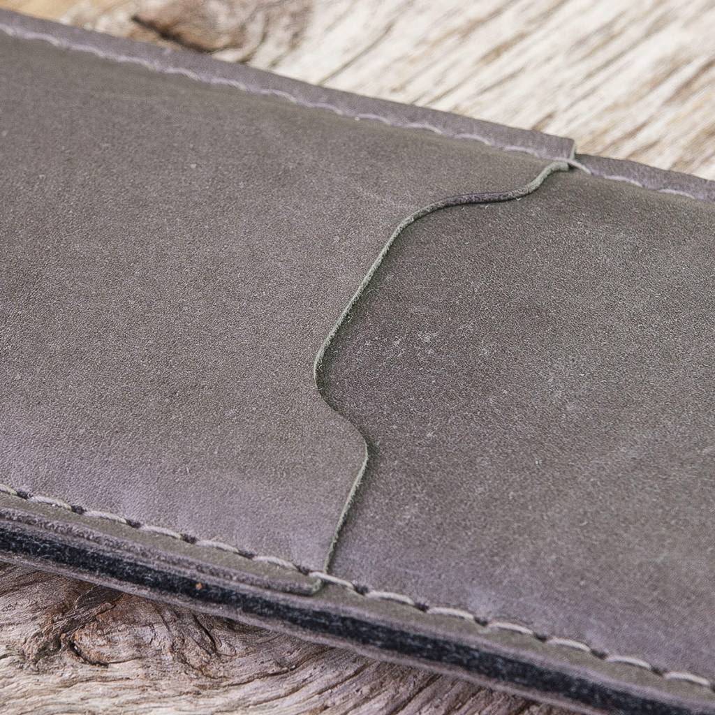 "gray iPhone 11 Pro Xs Max XR 8 leather sleeve with felt lining and insert pocket ""Basalt"""
