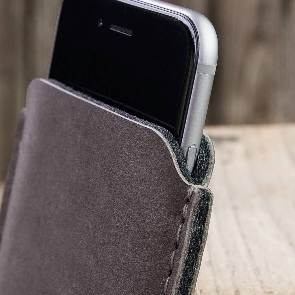 """iPhone XR leather case phone sleeve precious, elegant """"Katastrophenschutz"""" basalt gray, suitable crafted for your iPhone"""