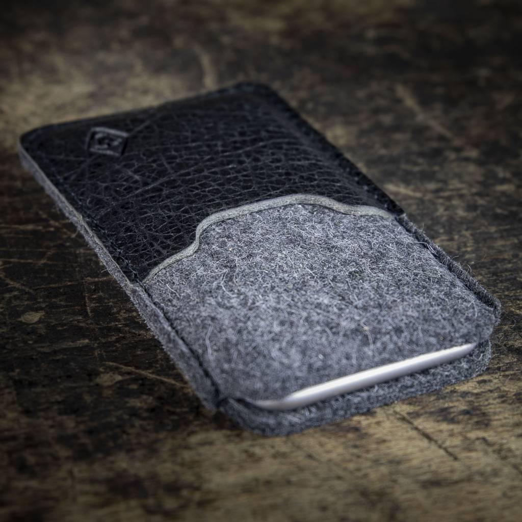 """iPhone 11 Pro Xs Max XR 8 Filzhülle mit Leder Einsteckfach """"Schutzanzug"""""""