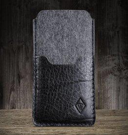 SCHUTZANZUG iPhone 13 Pro Max mini felt sleeve with leather compartment