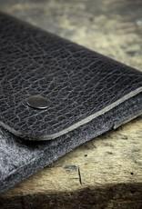 """MacBook Pro Tasche Leder Filz Ledertasche """"Werkzeugtasche Tiefschwarz"""" passend gefertigt für MacBook Pro 13 15 12, Touch Bar"""