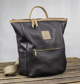 """HukkePakk"" leather backpack in black"