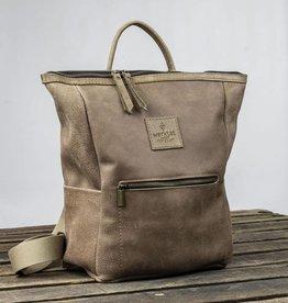 HUKKEPAKK leather backpack for women in brown