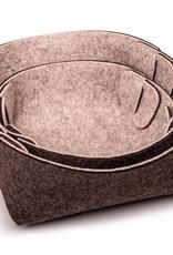 small basket felt gray mixed STECKWERK-SET 100% wool, 5mm