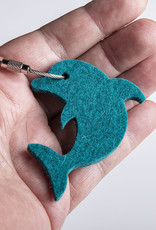 felt key chain dolphin, petrol mixed, steel rope with screw cap