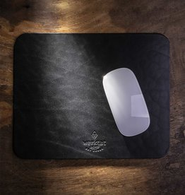 leather mousepad black vegetable tanned