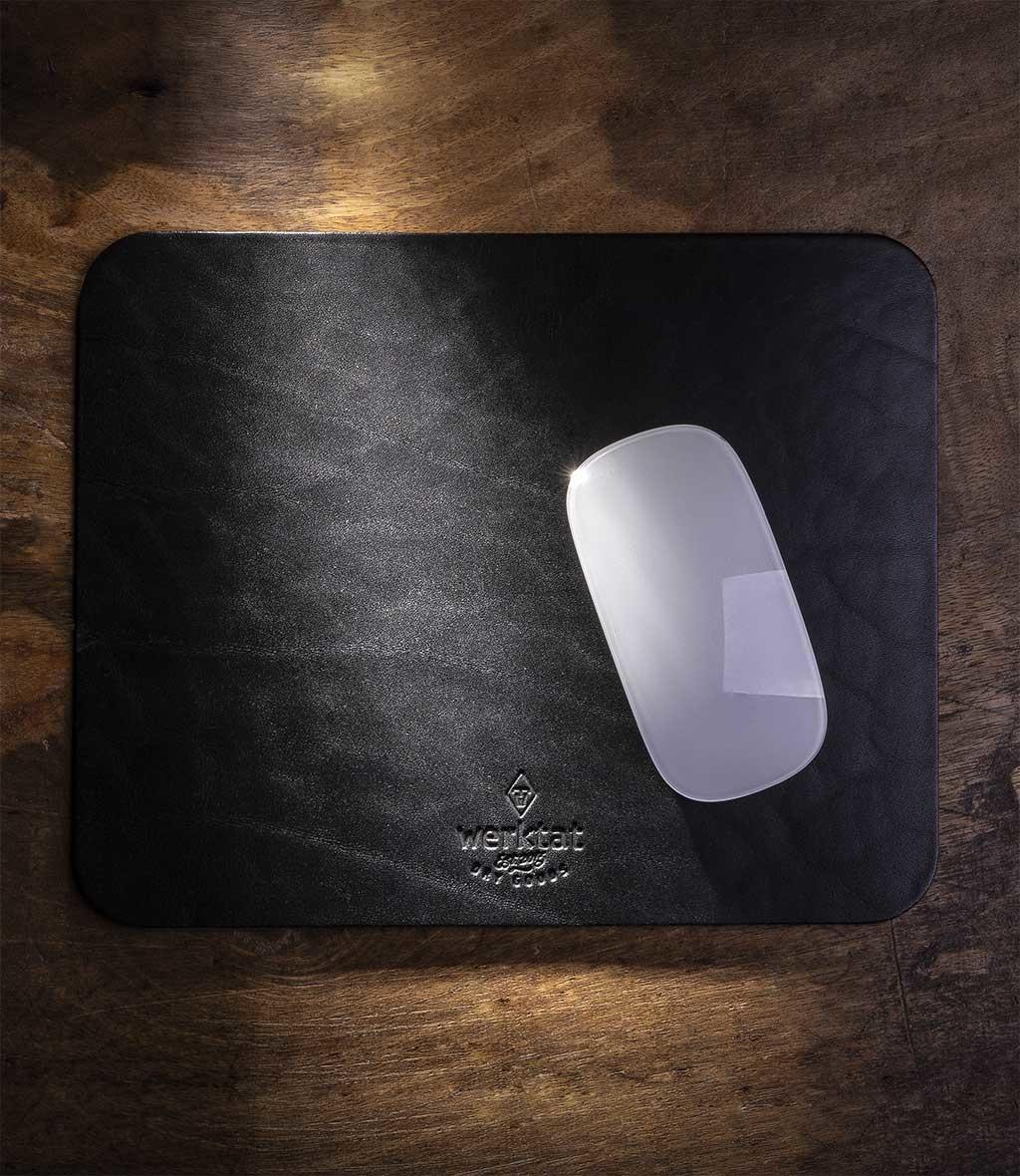 Leder Mousepad schwarz