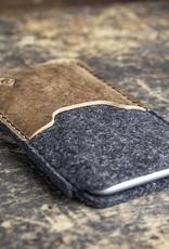 iPhone 11, Pro, Max, SE Filzhülle mit rustikalem, braunem Vintage-Leder SCHUTZGEHÄUSE