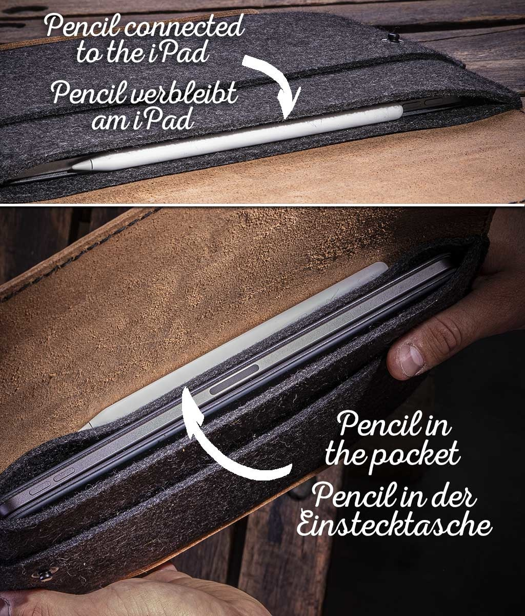 iPad Pro 11 12.9 Air 10.5 10.2 Hülle Leder Filz, Tasche WERKZEUGTASCHE