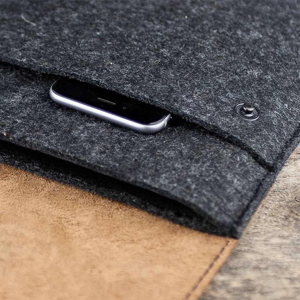 Surface Pro 7, X, Laptop 4, Book 3, Go 2 Tasche Leder Filz Hülle WERKZEUGTASCHE passend gefertigt für Microsoft Surface