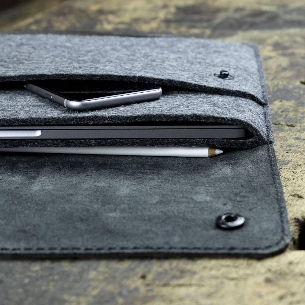 Surface Pro 7, X, Laptop 3, Book 3, Go Tasche Leder Filz Ledertasche SCHLIESSFACH passend gefertigt für Microsoft Surface