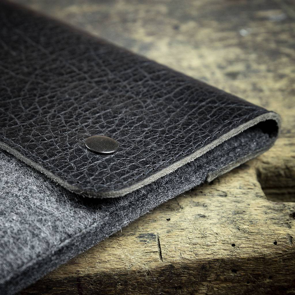 Surface Pro 6, 7, X, Laptop 3, Book 2, Go Tasche Leder Filz Ledertasche SCHLIESSFACH passend gefertigt für Microsoft Surface