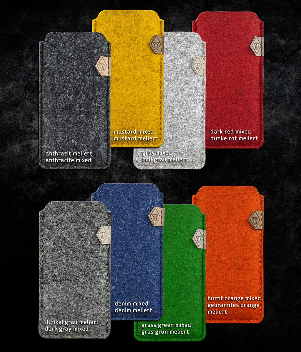 Samsung Galaxy S10, Plus, S10e, S9 felt sleeve SOFTWERK 2.0, suitable crafted for your Samsung Smartphone