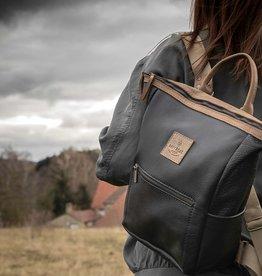 backpack leather in black HUKKEPAKK for women