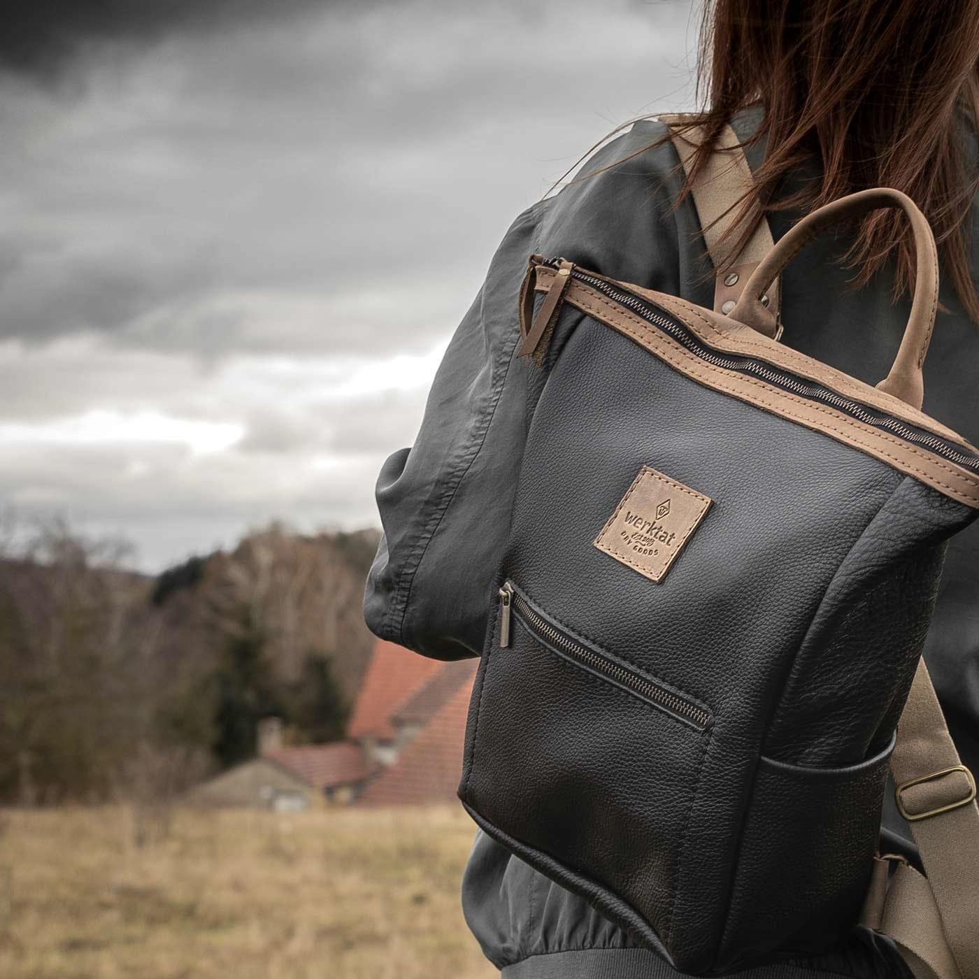 Leder Rucksack für Damen in schwarz: HUKKEPAKK