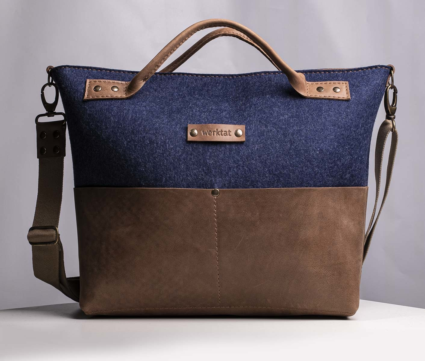 work satchel leather & felt, womens bag GROSSRAUMBUERO