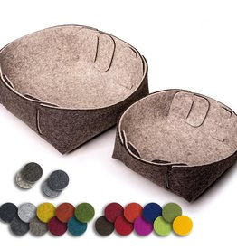 """Steckwerk Set"" small felt basket, set of 2"
