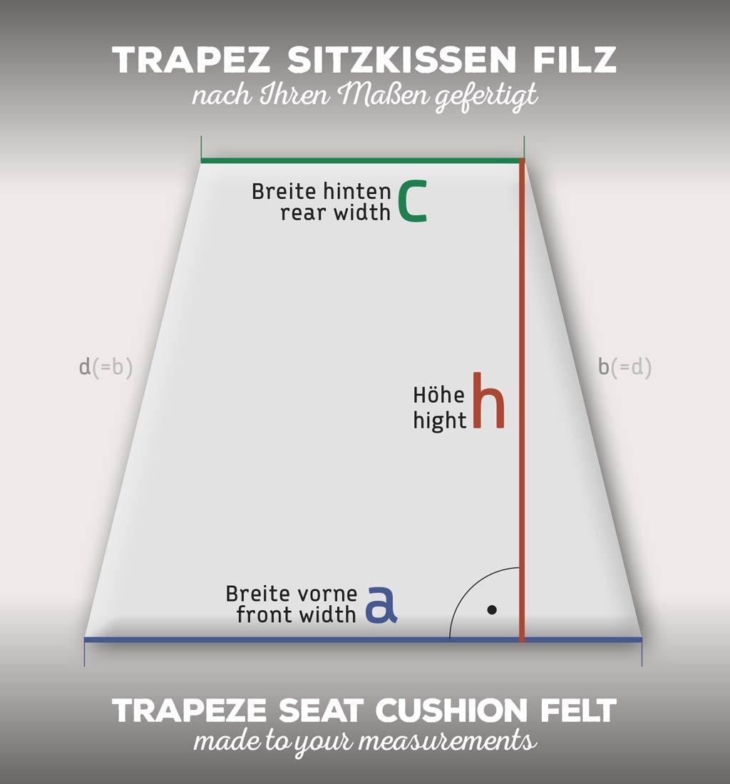 Trapeze seat cushion felt, made to measure