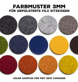 color samples woolfelt 3 mm for upholstered seat cushions 100% virgin wool