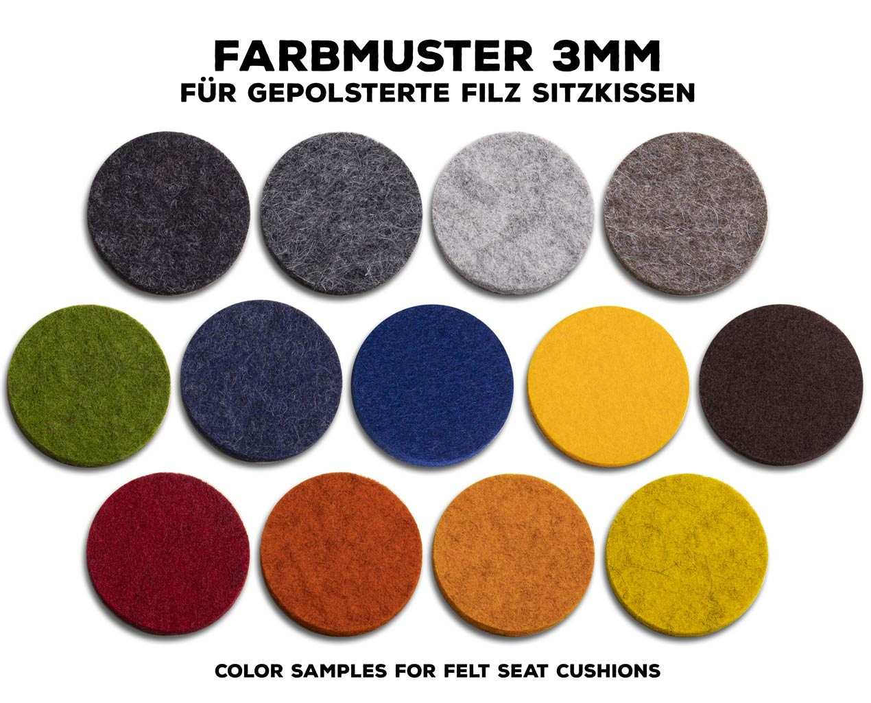 color samples woolfelt 3 mm for upholstered seat cushions