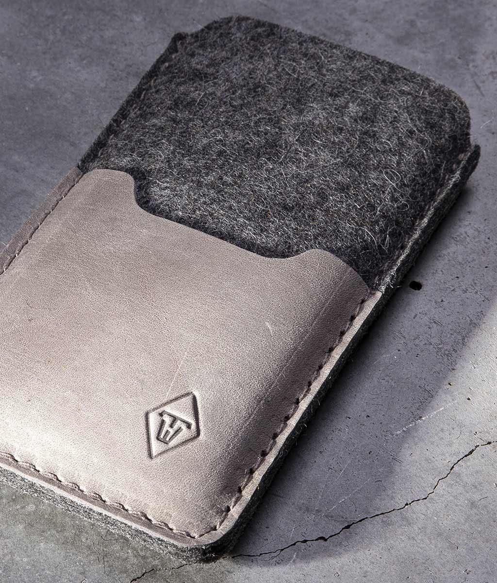 iPhone 13 12 11 Pro Max mini SE Filz Leder Tasche SMARTWERK