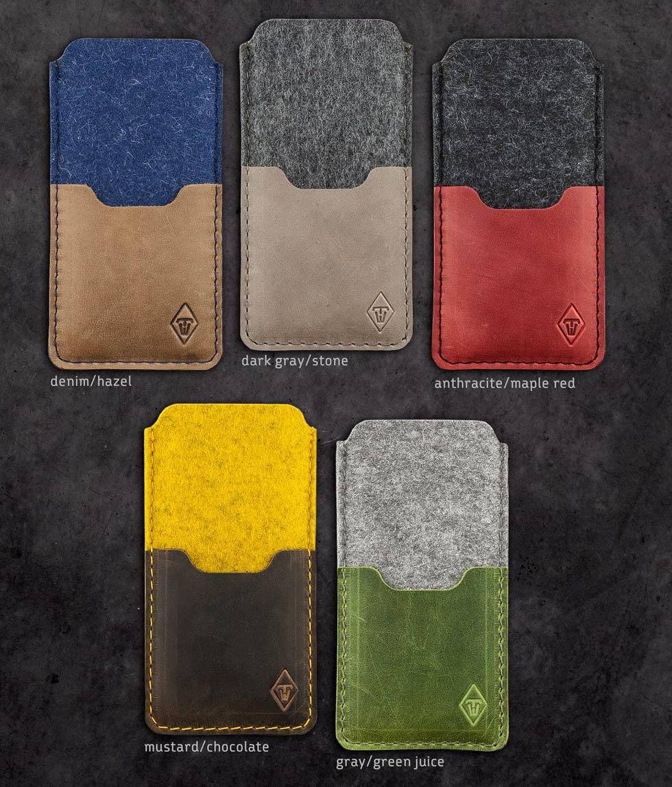 iPhone 12 11 Pro Max mini SE felt leather sleeve, case SMARTWERK