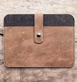 FACHWERK für MacBook Pro 14 / Air 13 Leder-Filz-Hülle, Tasche braun