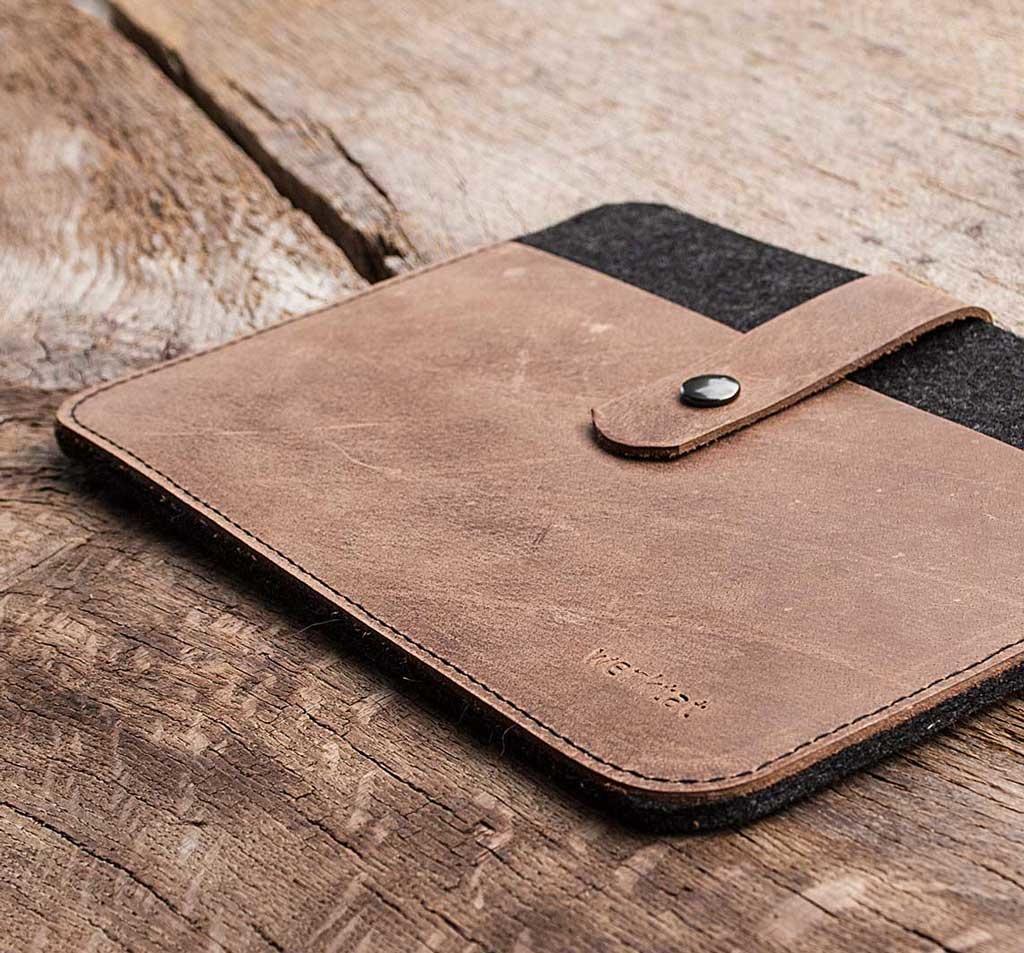 MacBook Pro 13 / Air 13 Leder Filz Hülle, Tasche braun FACHWERK passend gefertigt für Apple MacBook