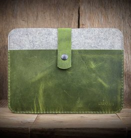 FACHWERK für MacBook Pro 13 / Air 13 grün, Leder-Filz-Hülle